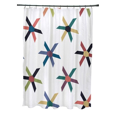 Cedarville Polyester Pinwheel Geometric Shower Curtain Color: Navy Blue