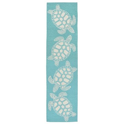 Claycomb Hand-Tufted Aqua Wool Indoor/Outdoor Area Rug Rug Size: Runner 2 x 8