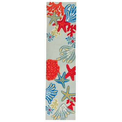 Clowers Ocean Scene Aqua Indoor/Outdoor Area Rug Rug Size: Runner 2 x 8
