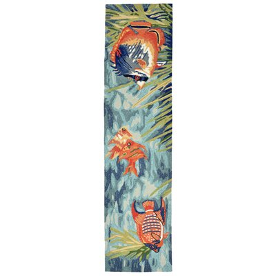 Clowers Tropical Fish Blue Area Rug Rug Size: Runner 2 x 8