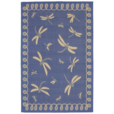 Clatterbuck Blue Dragonfly Indoor/Outdoor Area Rug Rug Size: Rectangle 33 x 411