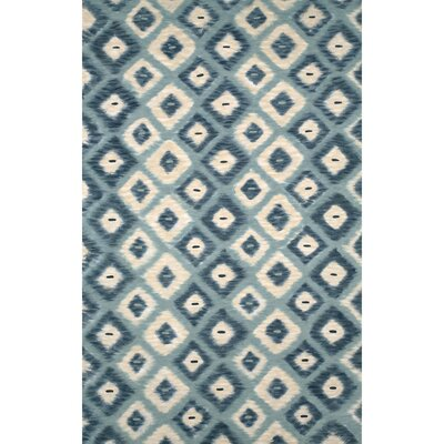 Visions II Aqua Ikat Diamonds Indoor/Outdoor Area Rug Rug Size: Rectangle 8 x 10