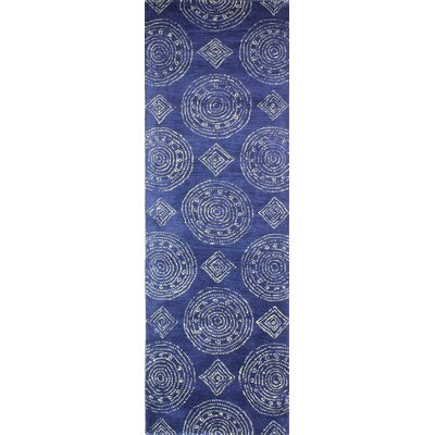 Villanova Hand-Tufted Navy Area Rug Rug Size: Runner 26 x 8