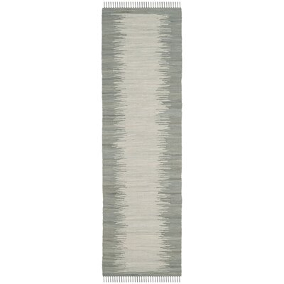 Cayman Hand-Woven Gray Cotton Area Rug Rug Size: Runner 23 x 7
