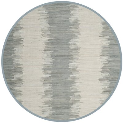Cayman Hand-Woven Gray Cotton Area Rug Rug Size: Round 6