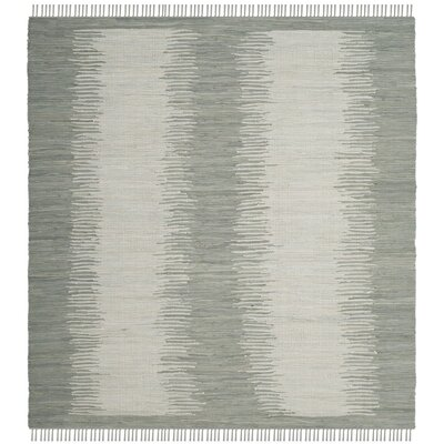 Cayman Hand-Woven Gray Cotton Area Rug Rug Size: Square 6