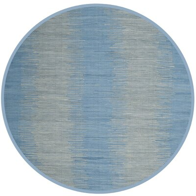 Cayman Hand-Woven Blue/Gray Area Rug Rug Size: Round 6