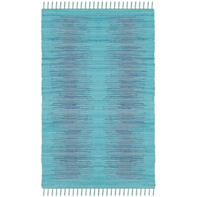 Cayman Hand-Woven Turquoise Cotton Area Rug Rug Size: Rectangle 4 x 6