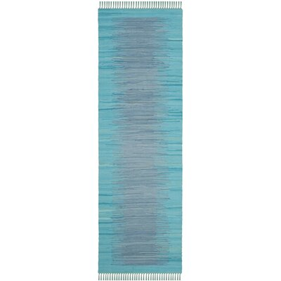 Cayman Hand-Woven Turquoise Cotton Area Rug Rug Size: Runner 23 x 7