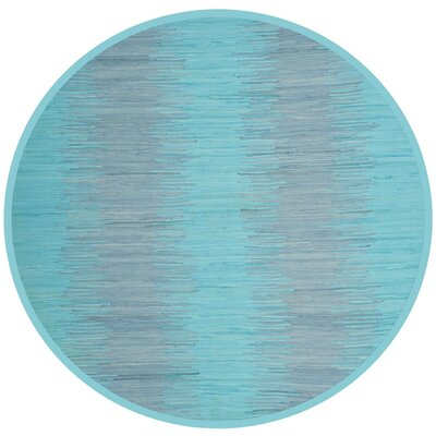 Cayman Hand-Woven Turquoise Cotton Area Rug Rug Size: Round 6