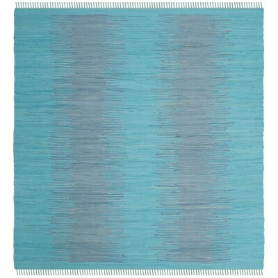Cayman Hand-Woven Turquoise Cotton Area Rug Rug Size: Square 6