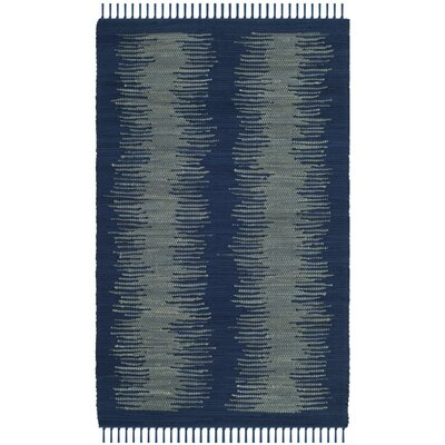 Cayman Hand-Woven Blue/Gray Cotton Area Rug Rug Size: Rectangle 26 x 4