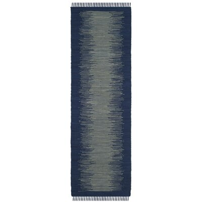 Cayman Hand-Woven Blue/Gray Cotton Area Rug Rug Size: Runner 23 x 7