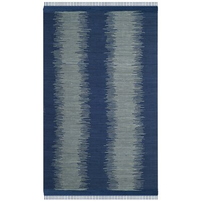 Cayman Hand-Woven Blue/Gray Cotton Area Rug Rug Size: Rectangle 5 x 8