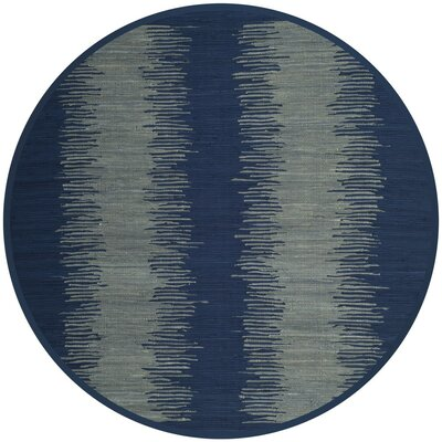 Cayman Hand-Woven Blue/Gray Cotton Area Rug Rug Size: Round 6