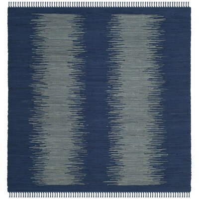 Cayman Hand-Woven Blue/Gray Cotton Area Rug Rug Size: Square 6