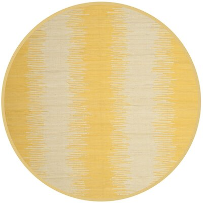 Cayman Hand-Woven Yellow/Gray Area Rug Rug Size: Round 6