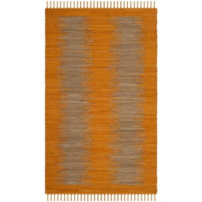 Cayman Hand-Woven Orange Cotton Area Rug Rug Size: Rectangle 26 x 4