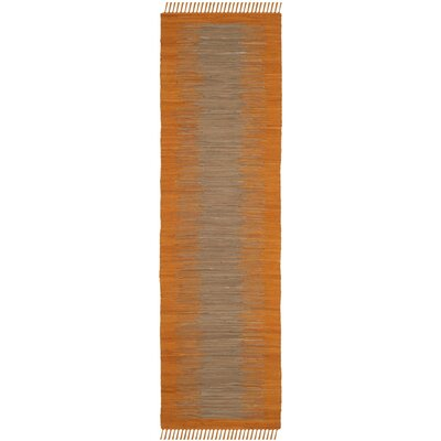 Cayman Hand-Woven Orange Cotton Area Rug Rug Size: Runner 23 x 7