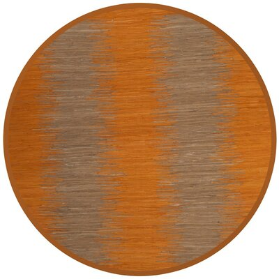 Cayman Hand-Woven Orange Cotton Area Rug Rug Size: Round 6
