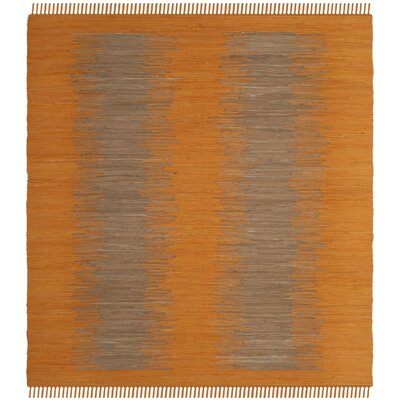 Cayman Hand-Woven Orange Cotton Area Rug Rug Size: Square 6