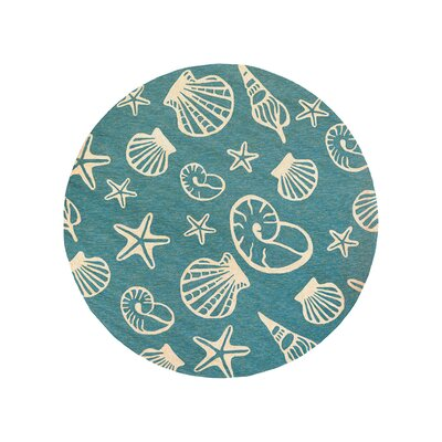 Monticello Cardita Shells Hand-Woven Turquoise Indoor/Outdoor Area Rug Rug Size: Round 710