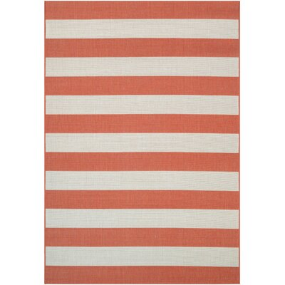Tarpon Orange/Ivory Indoor/Outdoor Area Rug Rug Size: 53 x 76
