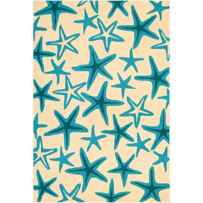 Bennington Hand-Woven Beige/Azure Indoor/Outdoor Area Rug Rug Size: Rectangle 8 x 11