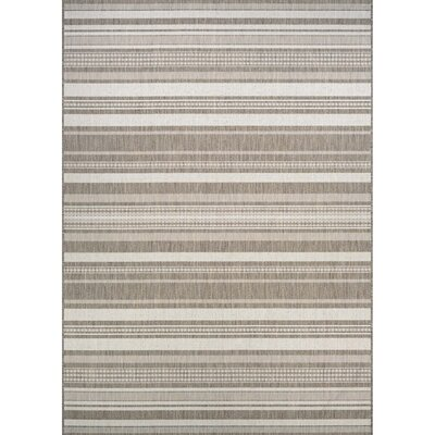 Anguila Stripe Gray/Beige Indoor/Outdoor Area Rug Rug Size: 39 x 55
