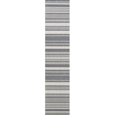 Anguila Stripe Gray Indoor/Outdoor Area Rug Rug Size: Runner 23 x 119
