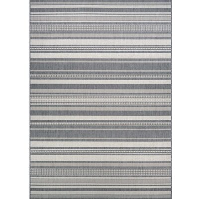 Anguila Stripe Gray Indoor/Outdoor Area Rug Rug Size: Round 76