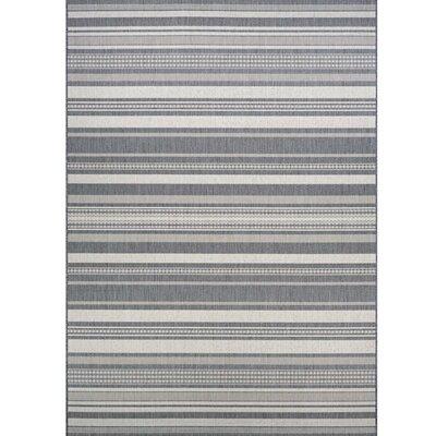 Anguila Stripe Gray Indoor/Outdoor Area Rug Rug Size: 86 x 13