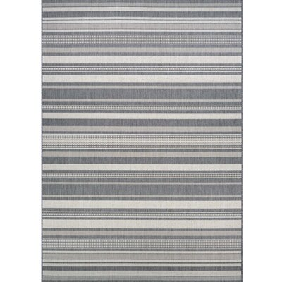 Anguila Stripe Gray Indoor/Outdoor Area Rug Rug Size: 510 x 92