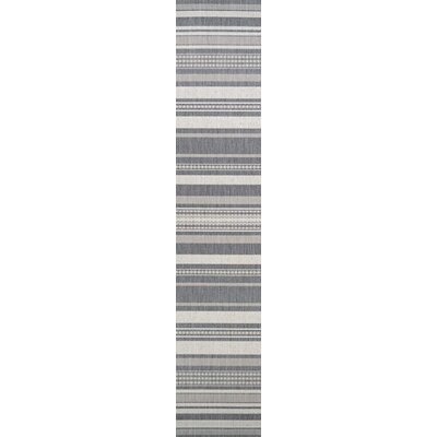 Anguila Stripe Gray Indoor/Outdoor Area Rug Rug Size: Runner 23 x 71