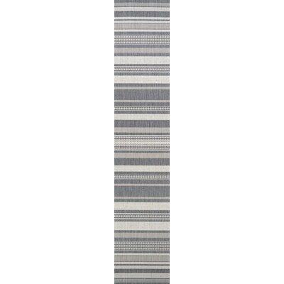 Anguila Stripe Gray Indoor/Outdoor Area Rug Rug Size: Runner 23 x 710