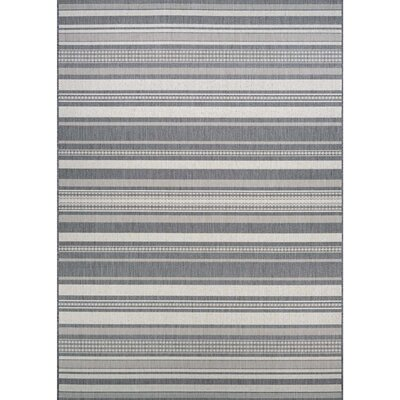 Anguila Stripe Gray Indoor/Outdoor Area Rug Rug Size: 76 x 109