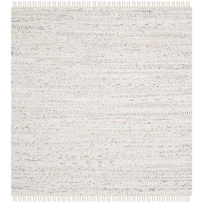 Penrock Way Handwoven Cotton White Area Rug Rug Size: Square 4
