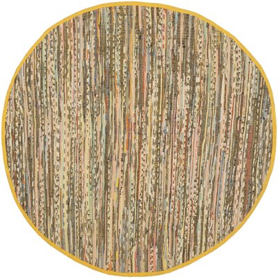 Havelock Contemporary Hand-Woven Cotton Yellow Area Rug Rug Size: Round 4