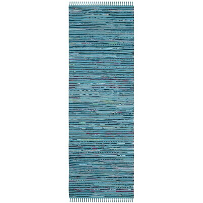 Nerys Hand-Woven Cotton Turquoise Area Rug Rug Size: Rectangle 3 x 5