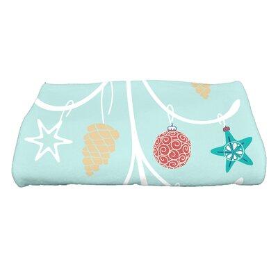 Coastal Christmas Pinecone Tree Bath Towel Color: Aqua