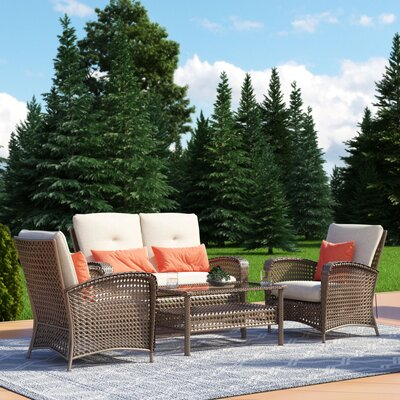 Lakewood Ranch 4 Piece Sofa Seating Group Frame Finish: Brown