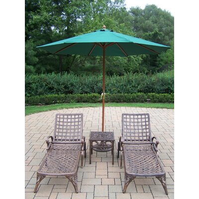 Thelma 5 Piece Lounge Seating Group Set Umbrella Fabric: Green