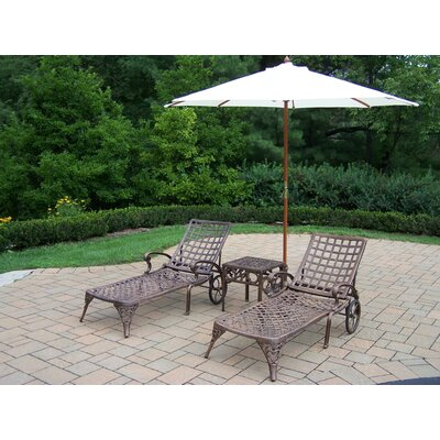 Claremont 5 Piece Lounge Seating Group Set Umbrella Fabric: White