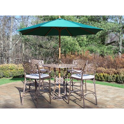 Thelma 5 Piece Bar Set with Cushions and Umbrella