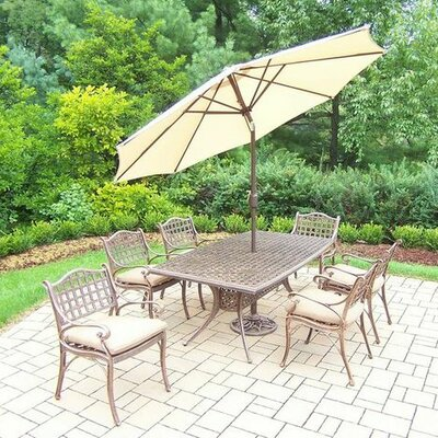 Thelma 7 Piece Dining Set with Cushions Umbrella Color: Beige, Cushion Color: Sunbrella Spunpoly