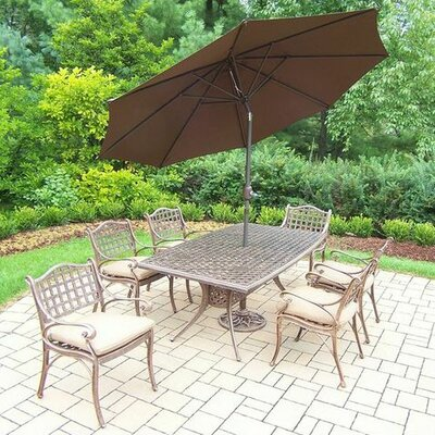 Thelma 7 Piece Dining Set with Cushions Umbrella Color: Brown, Cushion Color: Sunbrella Spunpoly