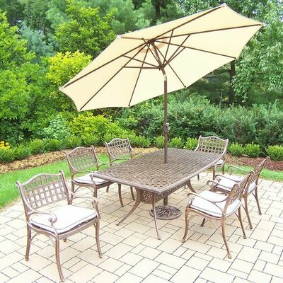Claremont 7 Piece Dining Set with Cushions Cushion Color: Oak Meal, Umbrella Color: Beige