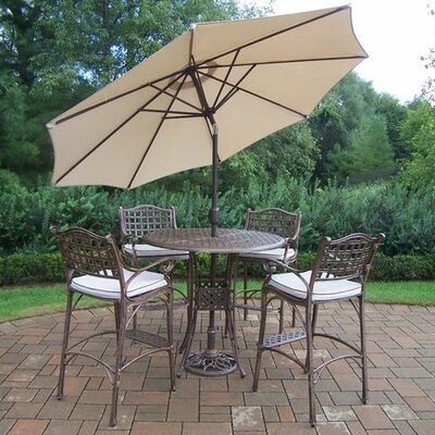 Thelma 5 Piece Traditional Aluminum Bar Set with Cushions Umbrella Color: Beige, Cushion Color: Oak Meal