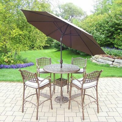 Thelma 5 Piece Traditional Aluminum Bar Set with Cushions Cushion Color: Oak Meal, Umbrella Color: Brown