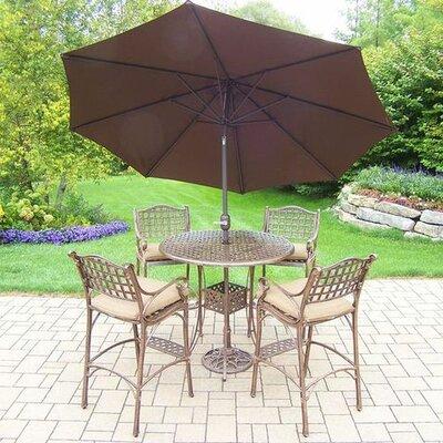Thelma 5 Piece Traditional Aluminum Bar Set with Cushions Umbrella Color: Brown, Cushion Color: Sunbrella Spunpoly